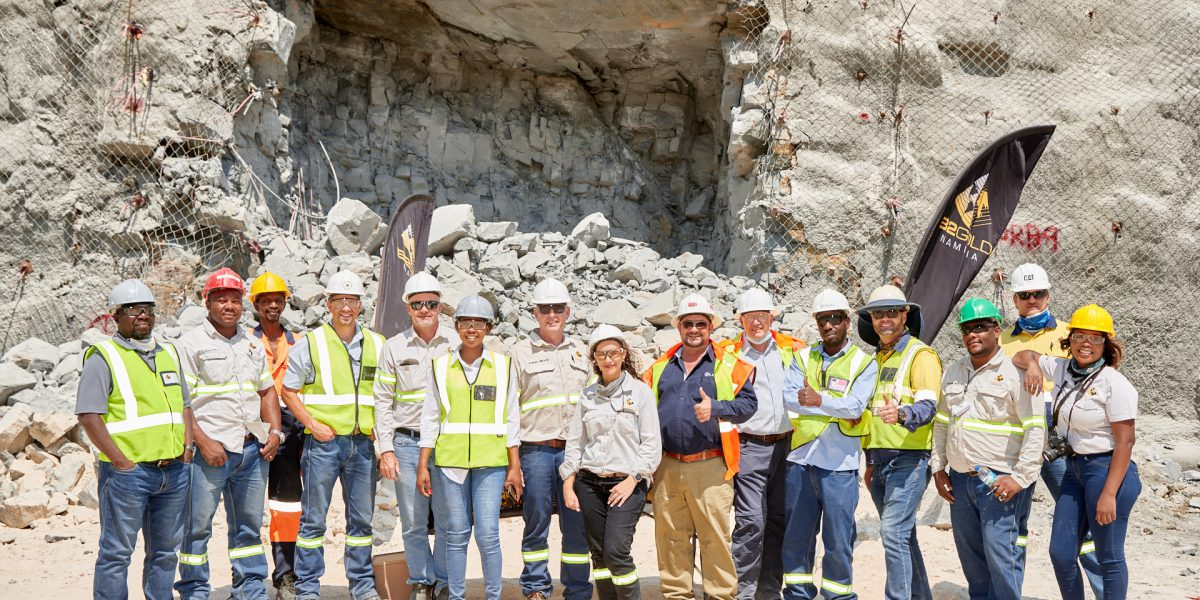 B2Gold Namibia team commemorating first blast of the Wolfshag underground project at the Otjikoto gold mine